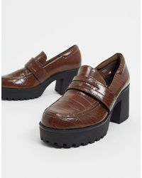 Monki Devon Faux Leather Heeled Chunky Loafer - Brown