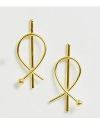 ASOS - Sterling Silver With Gold Plate Earrings In Circle Wire Design - Lyst