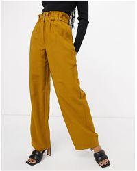 Vila Paperbag High Waisted Wide Leg Trouser - Brown