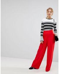 Miss Selfridge High Waisted Wide Leg Pants - Red