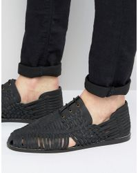 ASOS - Woven Lace Up Sandals In Black Nubuck Leather - Lyst