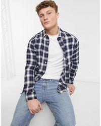 Burton Camicia a maniche lunghe écru e blu navy a quadri