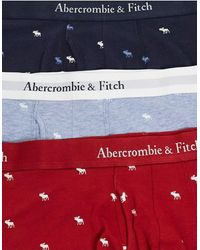 Abercrombie & Fitch 3 Pack Logo Waistband All Over Logo Print Trunks - Red
