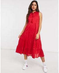 Warehouse - Tiered Ruffle Neck Midi Dress - Lyst