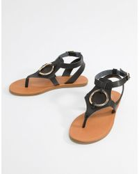 4fd04554bbc25 Lyst - New Look Suede Double Strap Flat Sandals in Black