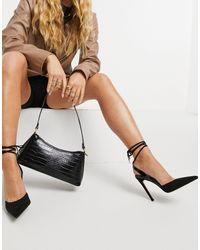 ASOS Pally Tie Leg High Heeled Shoes - Black
