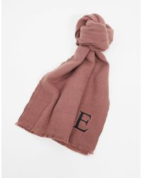 ASOS Personalised Scarf With Initial E - Pink
