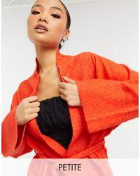 Y.A.S Petite Kimono Cardigan With Tie Waist - Orange