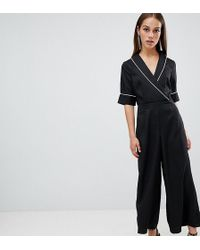 Boohoo Woven Tailored Wrap Jumpsuit In Black