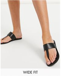 ASOS - Wide Fit Function Leather Toe Thong Sandals - Lyst