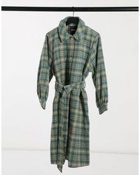 Monki Rosie - Manteau à carreaux avec ceinture - Vert