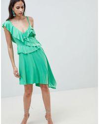 ASOS - Asymmetric Ruffle Soft Midi Dress - Lyst