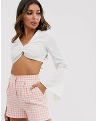 4th & Reckless 4th + Reckless Crop Top With Hardware Detail And Flare Sleeve - White