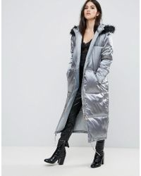 Missguided - Grey Longline Satin Padded Coat - Lyst