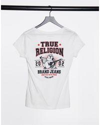 True Religion Buddha Print Deep V T Shirt - White