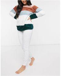 Women'secret Комплект Одежды Для Дома С Вязаным Свитшотом В Полоску Из Шенили -многоцветный