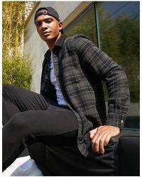 ASOS Oversized Grey Tonal Brushed Flannel Check Overshirt With Fleece Collar