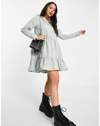 Noisy May Tiered Smock Dress With Prairie Collar - Grey