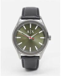 Armani Exchange Fitz - Horloge Met Zwarte Leren Band - Meerkleurig