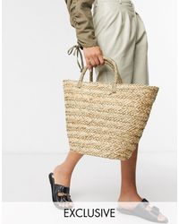 South Beach Exclusive Clean Straw Tote Bag - Natural