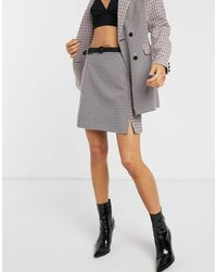 Fashion Union Falda de cuadros variados de (parte de un conjunto) - Gris