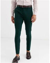 ASOS Wedding – Sehr eng geschnittene Anzughose - Grün