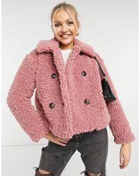 TOPSHOP - Розовая Укороченная Куртка Из Искусственного Меха -розовый Цвет - Lyst