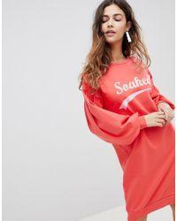 Soaked In Luxury - Slogan Sweatshirt Dress - Lyst