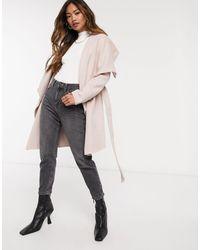 Forever New Розовое Пальто С Запахом И Каскадной Драпировкой -розовый - Многоцветный