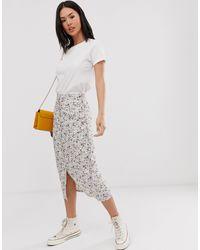 Daisy Street Button Through Midi Skirt - White