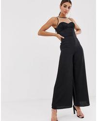 The Girlcode Satin Top Illusion Jumpsuit - Black