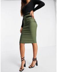 Vesper Contrast Detail Midi Pencil Skirt - Green