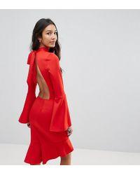 Oh My Love | Tall Pephem Midi Dress With Flare Sleeve | Lyst