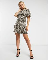 Naanaa Mini Dress With Cape Detail - Brown
