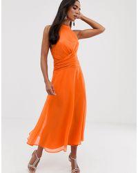 ASOS Midi Dress With High Neck And Drape Waist Detail - Orange