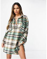 Missguided Robe chemise oversize à carreaux vichy - Vert