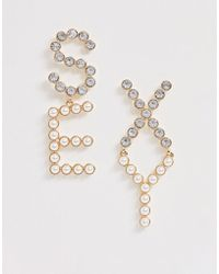 ASOS - Earrings In Pearl And Crystal Sexy Slogan Design In Gold Tone - Lyst