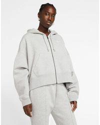 Nike Hoodie court oversize à fermeture éclair avec petit logo virgule - Gris