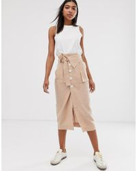 ASOS Casual Button Front Column Midi Skirt With Tie - Natural
