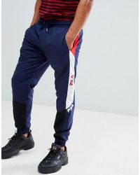 8eb6343ee6508 Fila Black Line Joggers With Taping In Navy in Blue for Men - Lyst