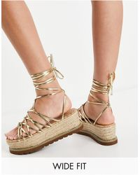 ASOS Wide Fit Wells Knotted Flatform Sandals - Metallic