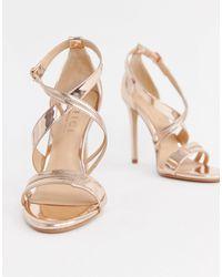 Office Hagan Rose Gold Strappy Heeled Sandals - Metallic