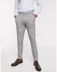 SELECTED Slim-fit Pantalon Met Stretch En Prince Of Wales-ruit - Grijs