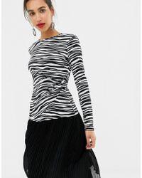 Warehouse - Zebra Print O Ring Slinky Top - Lyst