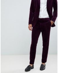 Jack & Jones Premium Slim Fit Velvet Suit Trouser - Purple