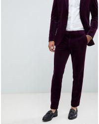 Jack & Jones Premium Slim Fit Velvet Suit Trouser - Purple