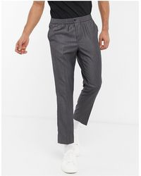 New Look Pantaloni eleganti easy-on grigio gessato