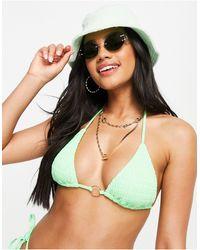 South Beach - Светло-зеленый Бикини-топ С Треугольными Чашечками Из Присборенного Материала -зеленый Цвет - Lyst