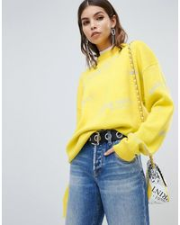 Miss Sixty Wool Knit With All Over Logo - Yellow
