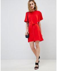 Warehouse - Asymmetric Ruffle Front Mini Shift Dress - Lyst